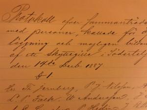 Gammalt protokoll från Skyttegillet i Södertälje, 1887